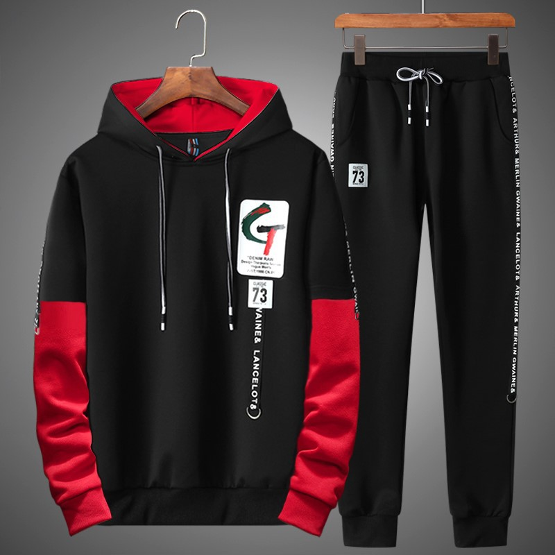 Men Tracksuit Set 2018 Autumn Sportswear Fashion Mens Two Piece Sweatshirt+Sweatpants Sweat Set Casual Youth Track Suit Clothing