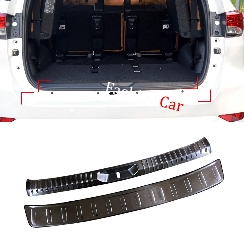 For Toyota Fortuner AN160 2016 2017 Car Accessories  2pcs Stainless Steel Car Trunk Door Sill Guard Plate yatour car adapter aux mp3 sd usb music cd changer 6 6pin connector for toyota corolla fj crusier fortuner hiace radios