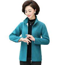 Women Fleece Coat Stand Collar Outerwear Autumn Winter Woman Imitation Lambs Polar Jacket Lady Warm Lightweight 4XL