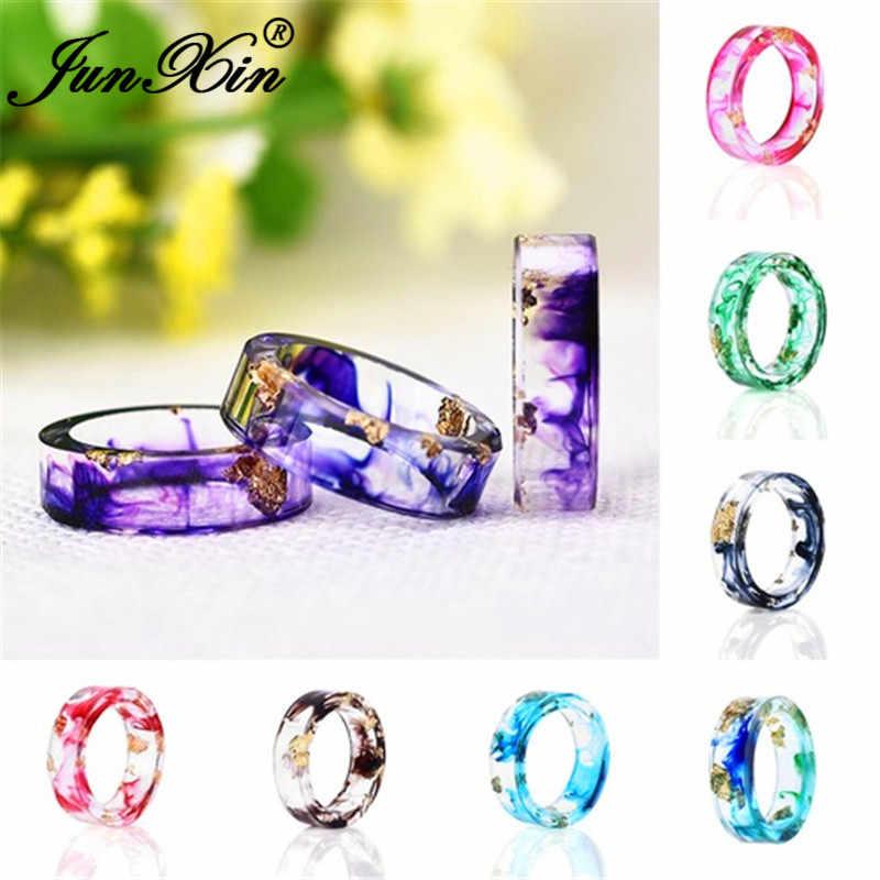JUNXIN Minimalist เรซิ่นแหวนผู้หญิงผู้ชายสีฟ้าสีม่วง DIY Handmade Gold Foil กระดาษสีสันงานแต่งงานแหวนชายหญิงเครื่องประดับ