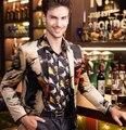 Traje masculino chaqueta de Los Hombres de baile de la boda abrigo abrigo de terciopelo de alto grado de la impresión bailarín del cantante estrella de Navidad rendimiento mostrar