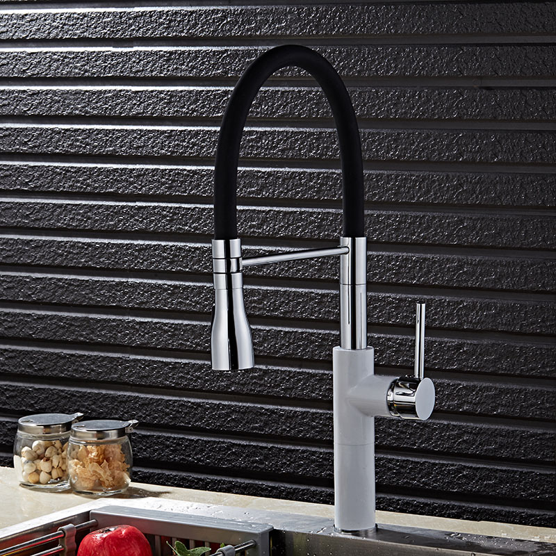New Arrivals Brass Black and White finish Pull Out Kitchen Faucet Sink Faucet luxury Hot & Cold luxury Water Kitchen Mixer tap kitchen chrome plated brass faucet single handle pull out pull down sink mixer hot and cold tap modern design