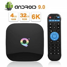 лучшая цена Android 9.0 TV Box Q Plus 4GB 64GB 32GB Smart TV Box Allwinner H6 Quad Core 6K H.265 2.4GHz Wifi GooglePlay 2GB 16GB Set Top box