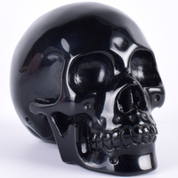 4 Inch Obsidian Skull Figurine Natural Stone 607 g Statue Handmade Crystal Unique Skull Sculpture Craft Healing Reiki Home Decor