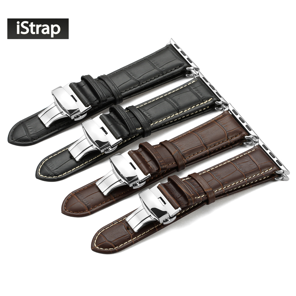 iStrap Durable 38mm  42mm Genuine Calf Leather Watch Strap For Iwatch with Deployant Stainless Steel Buckle for Apple Watch Band istrap 22mm handmade genuine calf leather padded replacement watch band for men black 22