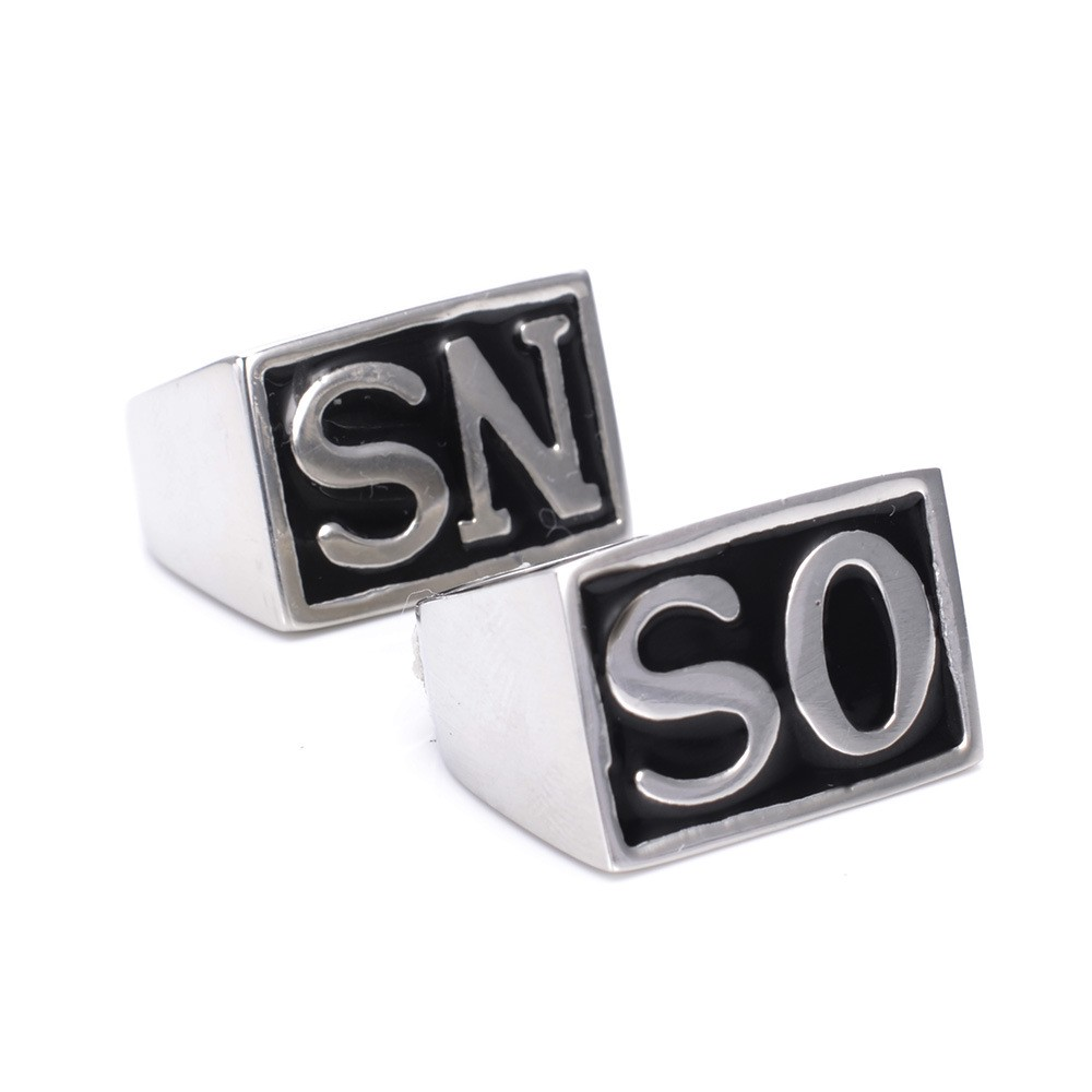 New 2Pcs fashion stainless steel men's rings Size US7-15