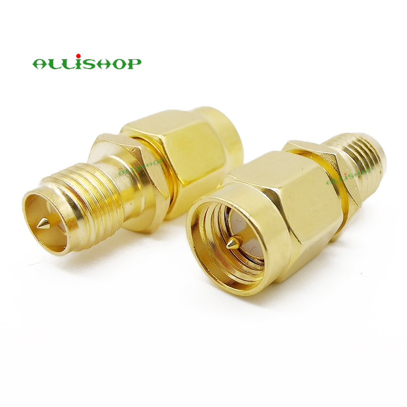 SMA Connector RF SMA Straight Goldplated SMA Male To RP-SMA Female Jack RF Coax Adapter Convertor For FPV Drone Wi-Fi Antenna