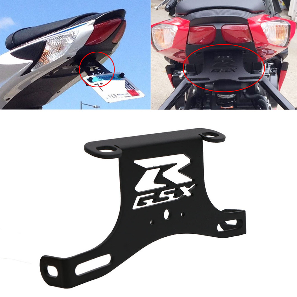Black Fender Eliminator Tail Tidy for Suzuki GSX R 600 750 GSXR600 GSXR750 2006-2010 Moto License Plate Light Bracket #MX011 for suzuki gsxr1000 2007 2008 motorcycle licence plate bracket tail tidy rear fender eliminator billet aluminum