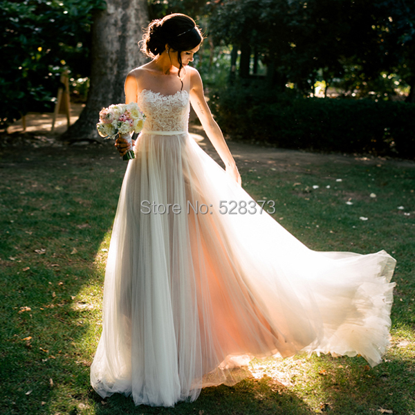 YNQNFS IWD5 Fairy Floor Length Sheer Neck Tulle Ivory and Nude Pink Two Color Beach Wedding Dress Wedding Gown