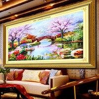 Новое поступление Рукоделие 3D вышивка крестиком комплект незавершенной лента вышивка живопись первая любовь Cherry Blossom Мода Home Decor