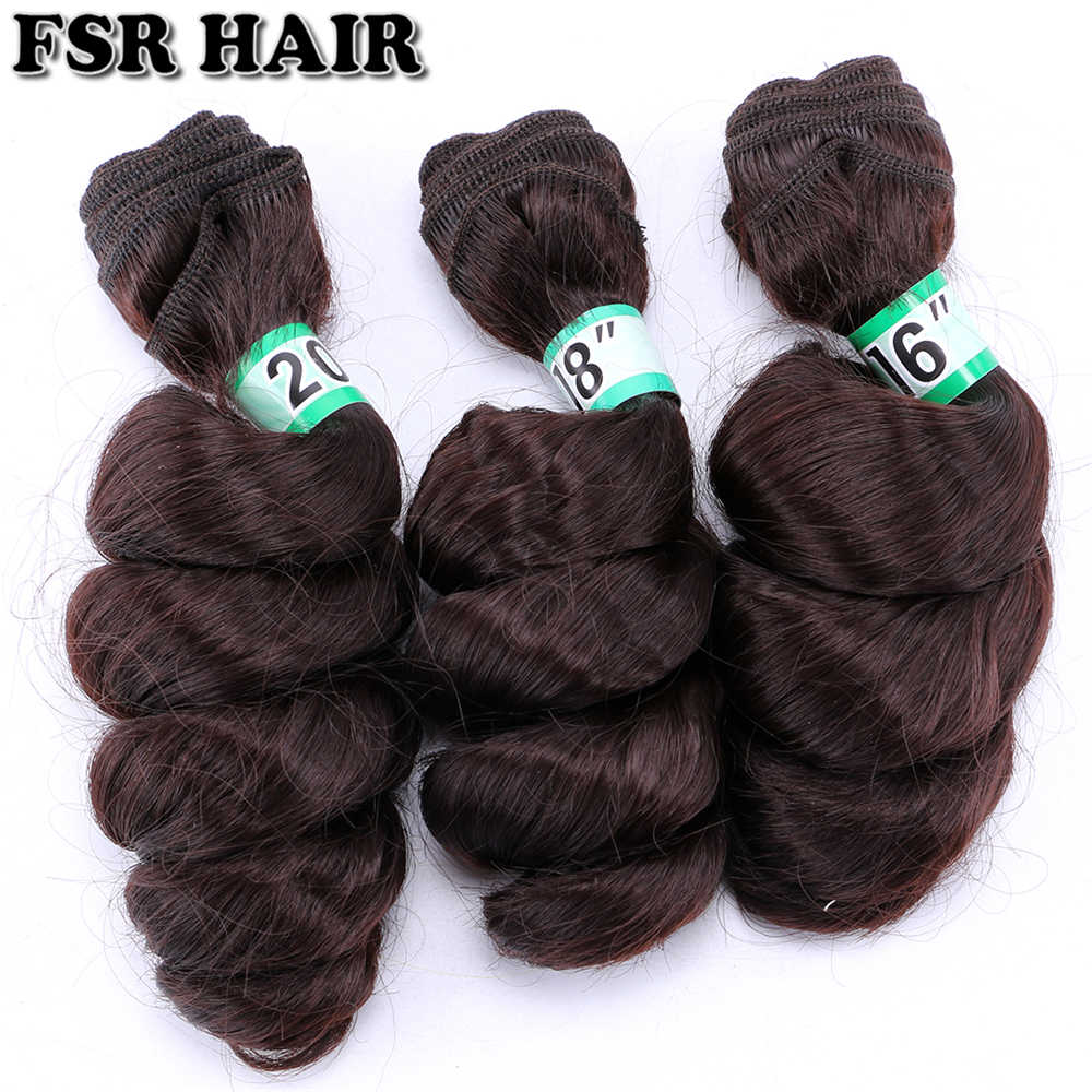 FSR Brown pink grey Color 70 G/pcs Loose wave Hair weave synthetic Hair Bundles for Black Women