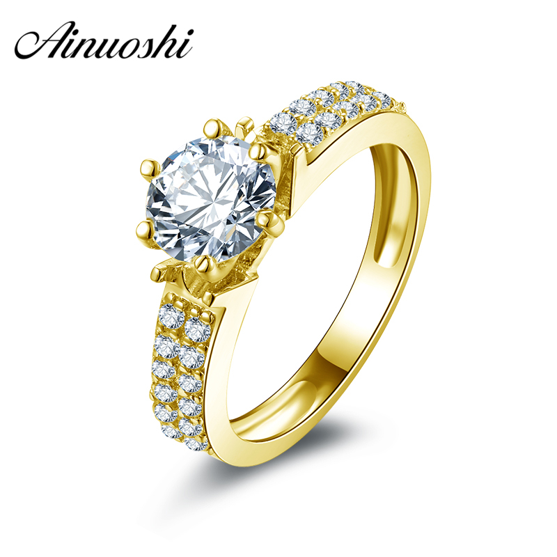 AINUOSHI 10k Solid Yellow Gold Wedding Rings Female Anillos de Compromiso Jewelry Wholesale 1.25 ct Round Cut CZ Wedding Rings цена