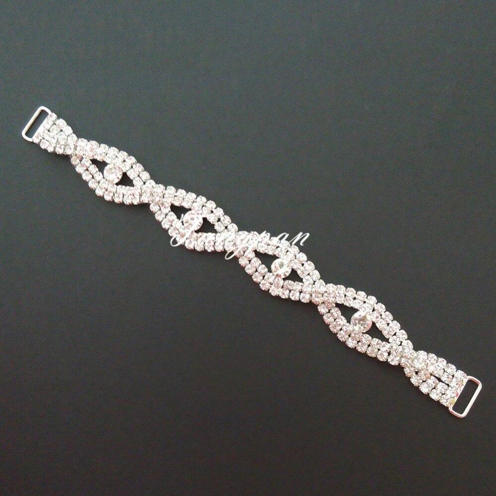 Tangpan 10pcs 수영 착용 비키니 훈장을위한 수정 같은 모조 다이아몬드 비키니 연결 관 버클 금속 사슬