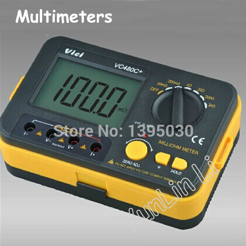 New Multimeters 3 1/2 Digital Milli-ohm Meter Multimeter 6w VC480C+ vc480c 3 1 2 digital milli ohm meter multimeter with 4 wire test accuracy backlight vici with high quality