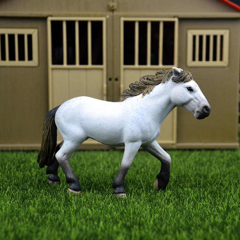 Original genuine Wild farm Animal white wild stallion horse Figurine figure Model kids toy collectible
