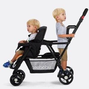 Image 3 - Seebaby pli jumeaux bébé poussette Double landau deux sièges peut se tenir debout/sasseoir nouveau né bébé et enfants landau poussette