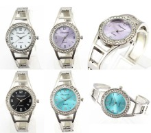 Luxurious Women Crystal Bangle Quartz Watch Woman Stainless Steel Bracelet Wrist Watches