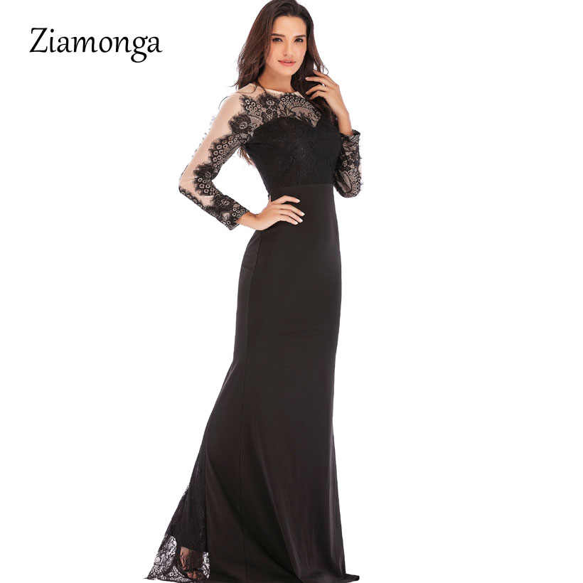 0417848583 Ziamonga Elegant Mermaid Evening Party Dress 2019 Long Sleeve Prom Bodycon  Dress Galajurk Robe De Soiree Lace Formal Party Gowns