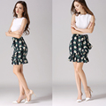 2017 Fashion floral printing line  women's  skirt for skirt shorts bow direction pencil skirts large size S to XL