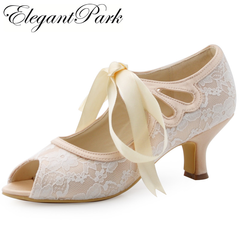 HP1522 Women Peep Toe Mary Jane Ribbon Tie Mid Heel Lace Lady Bride Bridal Wedding Shoes Bridesmaid Prom Evening Pumps Champagne hp1522 woman white ivory peep toe mary jane lace lady prom party pumps mid heel ribbontie bride bridesmaid wedding bridal shoes