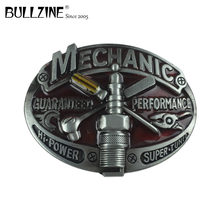 Bullzine zinc alloy mechanic TOOL jeans cowboy gift belt buckle with pewter finish FP-03643 for 4cm width belt drop shipping