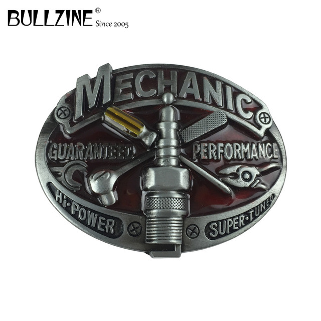 Bullzine цинковый сплав механик инструмент Джинсы Ковбой подарок пряжки ремня с оловянной отделкой FP-03643 см для 4 см ширина пояса Прямая доставка