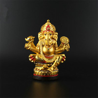 Talisman Efficacious Tranic Indian Thailand Buddhist 12.7cm Gold Resin Gilding Ganesha God/Elephant Home Decorate Buddha Statue
