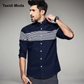 Autumn Mens Fashion Shirts Striped Patchwork Pocket Brand Clothing Man's Long Sleeve Slim Fit Clothes Male Wear Tops