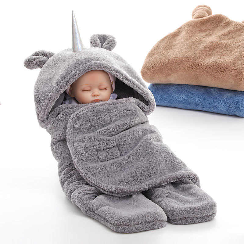 Newborn Unicorn Baby Winter Swaddle Cloth Wrap Infant Fleece Wool Sleep Blanket Cute Soft Warm Sleeping Bag