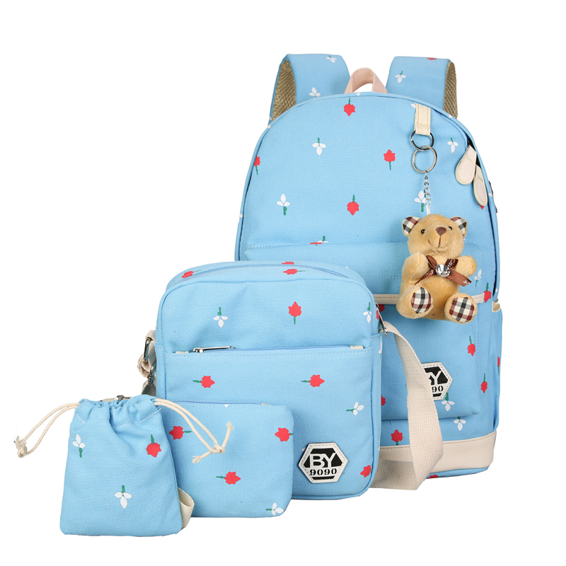 Boomiisd designer 5pcs canvas usb school bags set 4 selling design