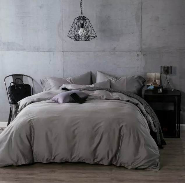 Attractive Luxury Dark Grey Egyptian Cotton Bedding Sets Sheets Bedspread King Queen  Size Quilt Duvet Cover Bedsheet