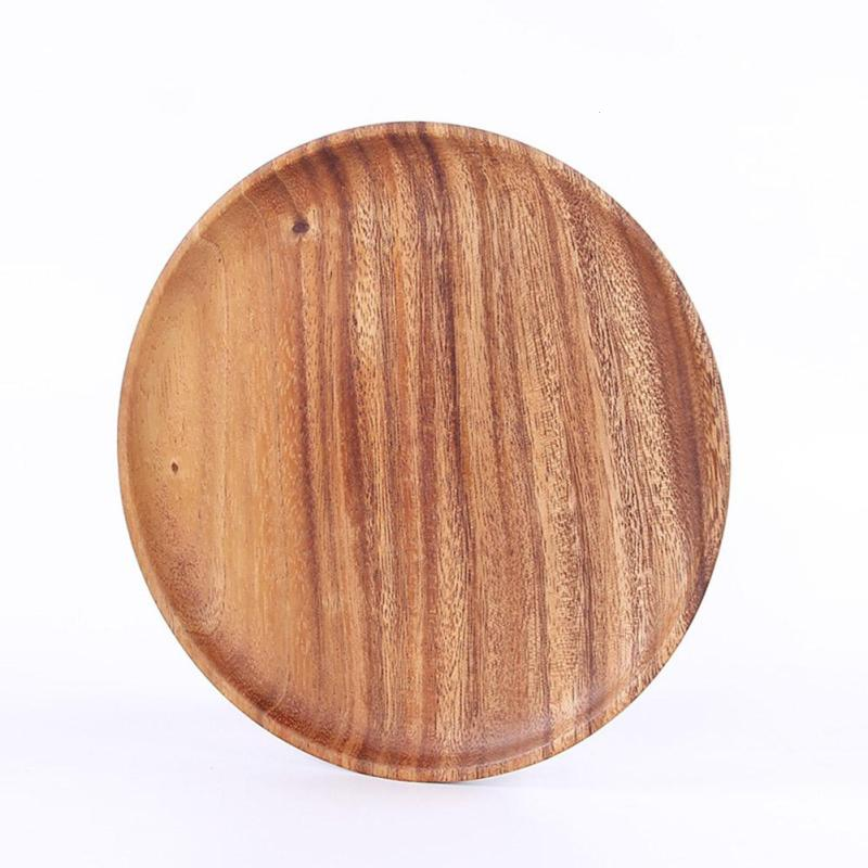 Natural Round Wood Dishes Home Kitchen Salad Fruits Snacks Wooden Tray Japanese Style Dessert Tableware Food Utensils V3