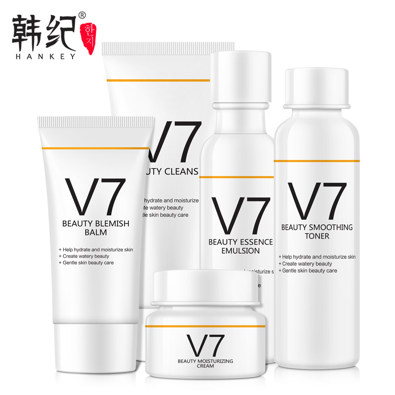 Face Care V7 Set Whitening Moisturizing Cleanser Blemish Balm Smoothing Toner Essence Emulsion Skin Care Korean