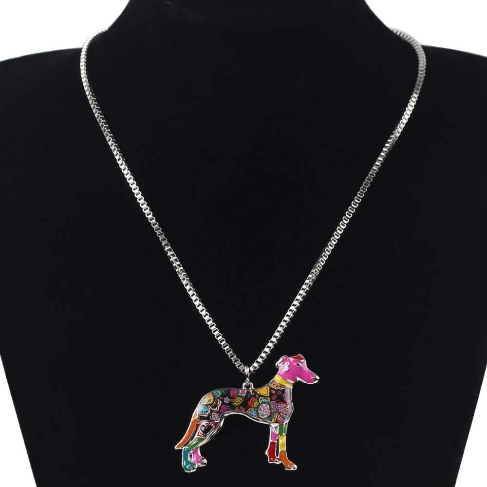Bonsny Maxi Tuyên Bố Kim Loại Hợp Kim galgos Greyhound Đồ Trang Sức cho Chó Choker Men Necklace Chain Collar Pendant Thời Trang Cho Phụ Nữ