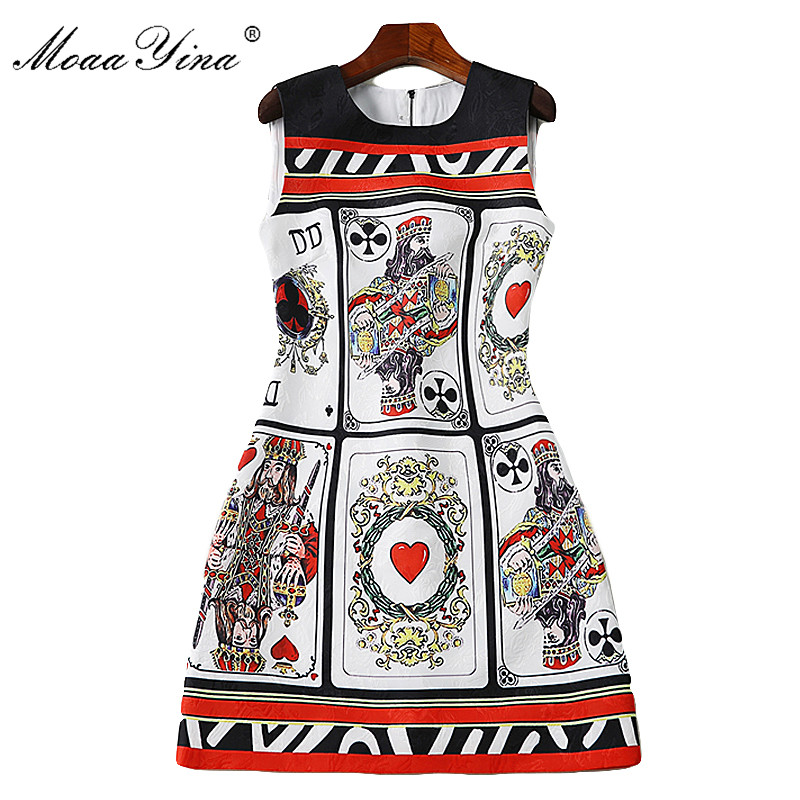 MoaaYina 2018 Fashion Designer Runway Dress Summer Women Sleeveless Jacquard Poker cards Print Casual Holiday Vintage Mini Dress