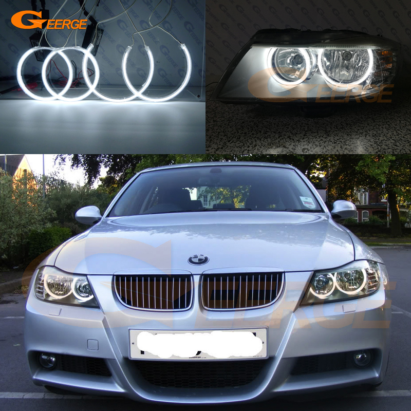 For BMW 3 Series E90 E91 2009 2010 2011 Halogen Headlight Excellent Ultra bright illumination CCFL Angel Eyes kit halo rings free shipping super bright ccfl angel eyes halo rings kit for bmw e83 x3 auto headlight 4 rings 2 waterproof inverters page 7