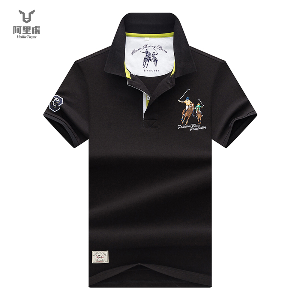 Hollirtiger   polo   men's Shirt Cartoon Embroidery men clothes 2019 Cotton Black White Red Jersey