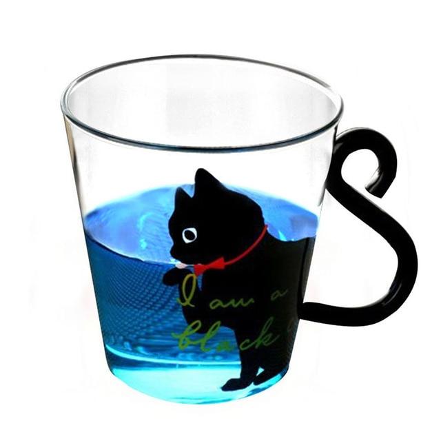 Justdolife 8.5oz Cute Creative Cat Milk Coffee Mug Water Glass Mug Cup Tea Cup Cartoon Kitty Home Office Cup For Fruit Juice 4