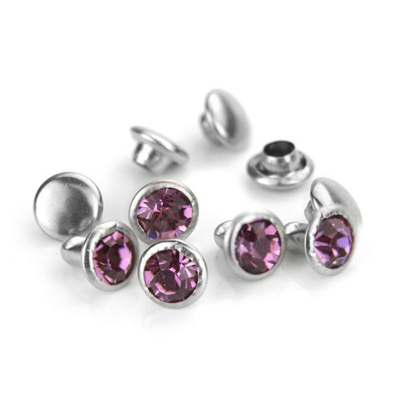 6mm Crystal Rivets Amethyst Snap Button Violet Rhinestone Rivets 1000pcs/lot Bag Accessories