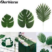 OurWarm 12Pcs Jungle Party Supplies Artificial Tropical Palm Leaves Turtle Leaf Hawaiian Luau Beach Theme Table Decoration