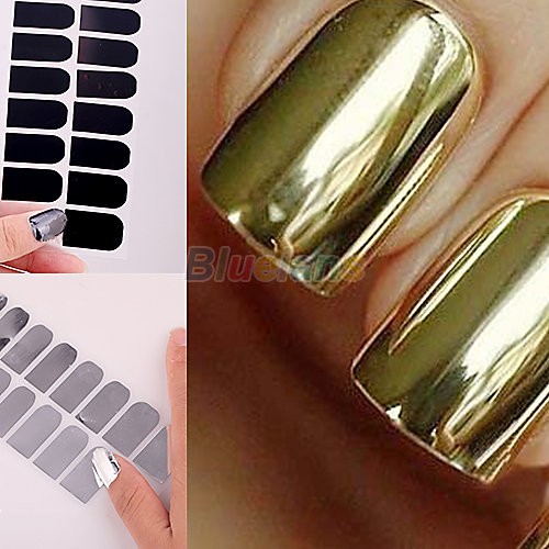 16pcs Smooth Nail Art Beauty Sticker Patch Foils s Decoration Decal Black Silver Gold