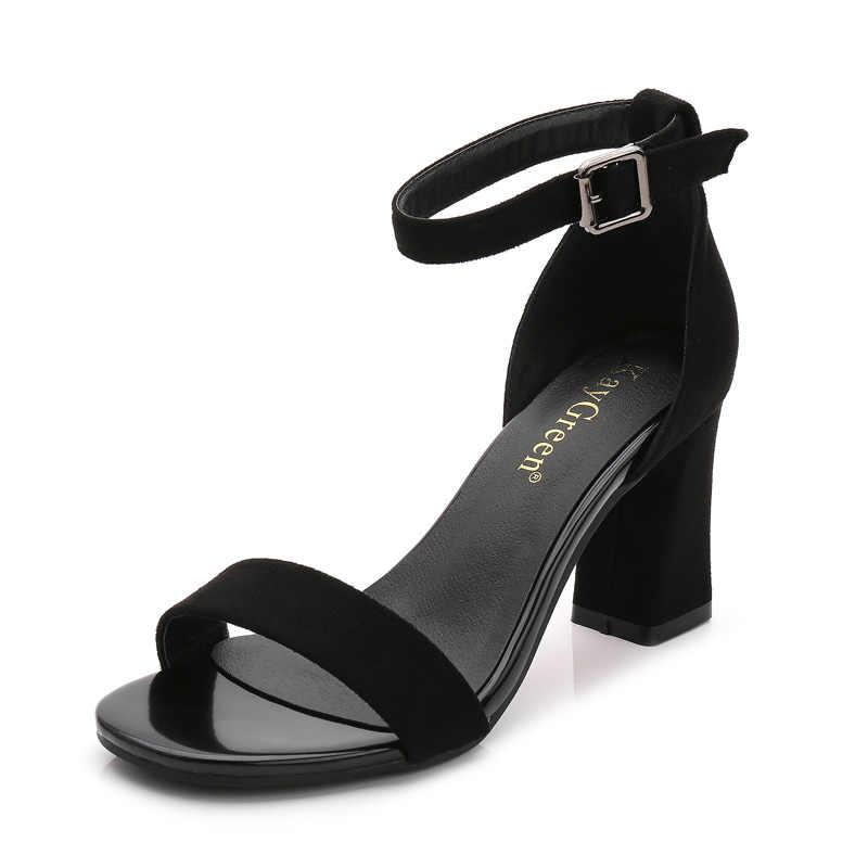 SLYXSH 2019 קרסול רצועת עקבים נשים סנדלי קיץ נעלי נשים בוהן פתוח שמנמן עקבים גבוהים מסיבת שמלת סנדלי