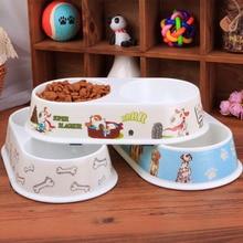 5pcs/lot White Melamine Plastic Small Dog Double Bowls PP Tableware For Cat Pet Supplies 6 Design Send At Random