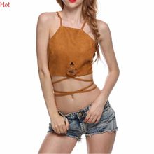 Hot Clubwear Sexy Lace Up Bra Women Cropped Tanks Tops Vest Camis Sleeveless Suede Bodycon Bandage Crop Tops Camisole SV029743(China)