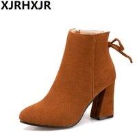 XJRHXJR Plus Size 34 47 Fall Women Boots Short Martin Boots Winter Thick High Heels Suede