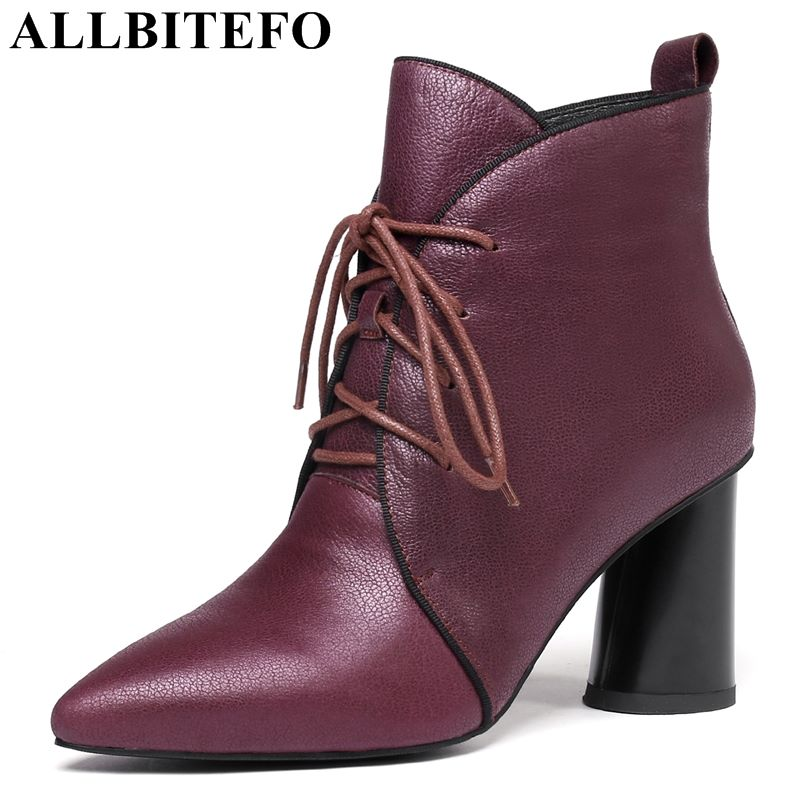 allbitefo brand genuine leather super high heel ankle women boots fashion sexy ladies girls martin boots motocycle boots shoes ALLBITEFO brand genuine leather ladies women ankle boots High quality natural cow leather motocycle boots martin boots shoes