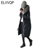 Высокое качество 2018 зимняя новая пуховая куртка Женская длинная модная верхняя одежда плотное теплое пальто белый гусиный пух с капюшоном