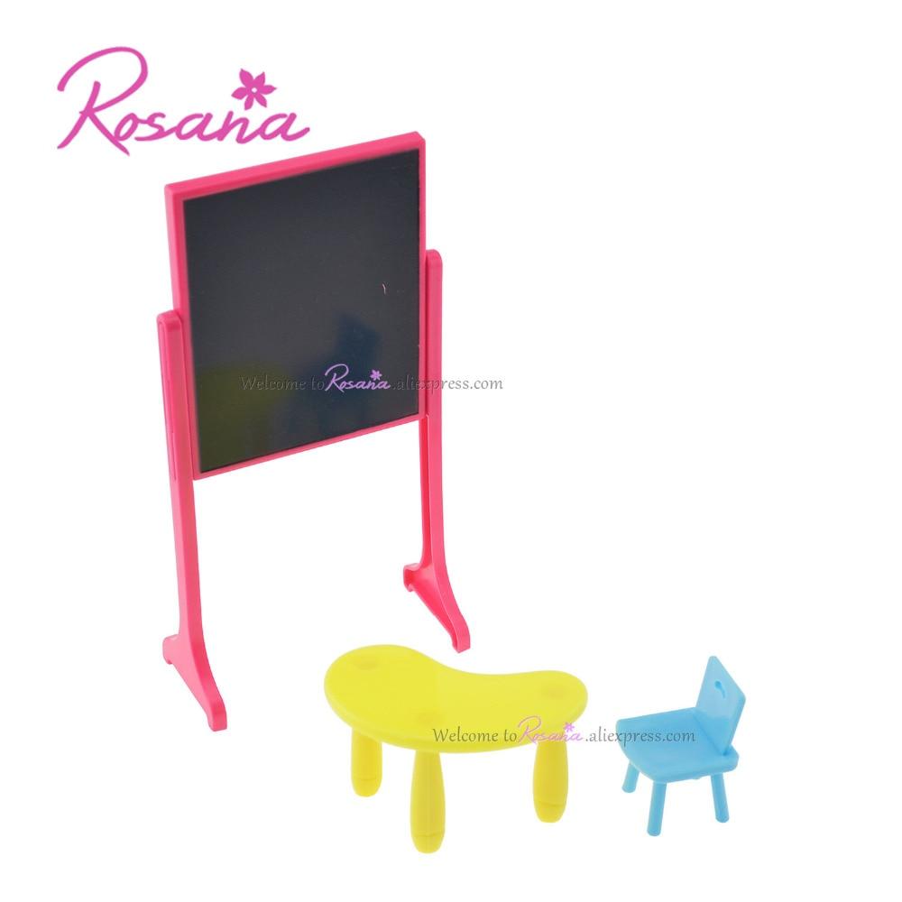 Rosana 3 Pcs Mini Ruang Kelas Meja + Kursi + Papan untuk Barbie Saudara Kelly Boneka Bermain Rumah Furniture Boneka Aksesoris