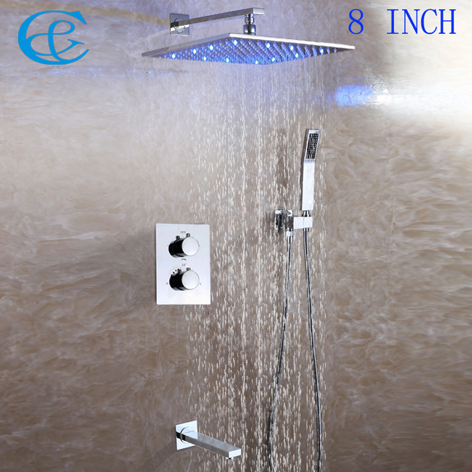 Brass Spout Square Chrome Brass Rainfall LED Shower Head Contemporary Style Bathroom Thermostatic Shower Faucet