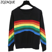 Chinese Celebrity Fashion New Style Rainbow Pattern Women Nice O neck Tops Long Sleeve All match Knitting Pullover Shirts SY1413